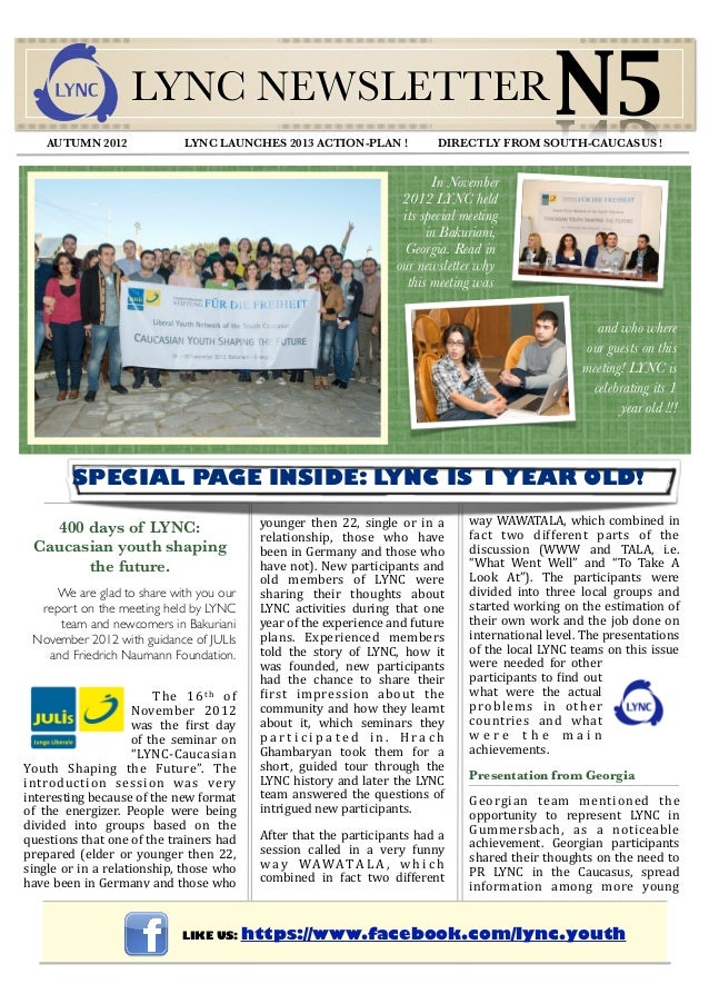 AUTUMN 2012                      LYNC NEWSLETTER                                 LYNC LAUNCHES 2013 ACTION-PLAN !         ...