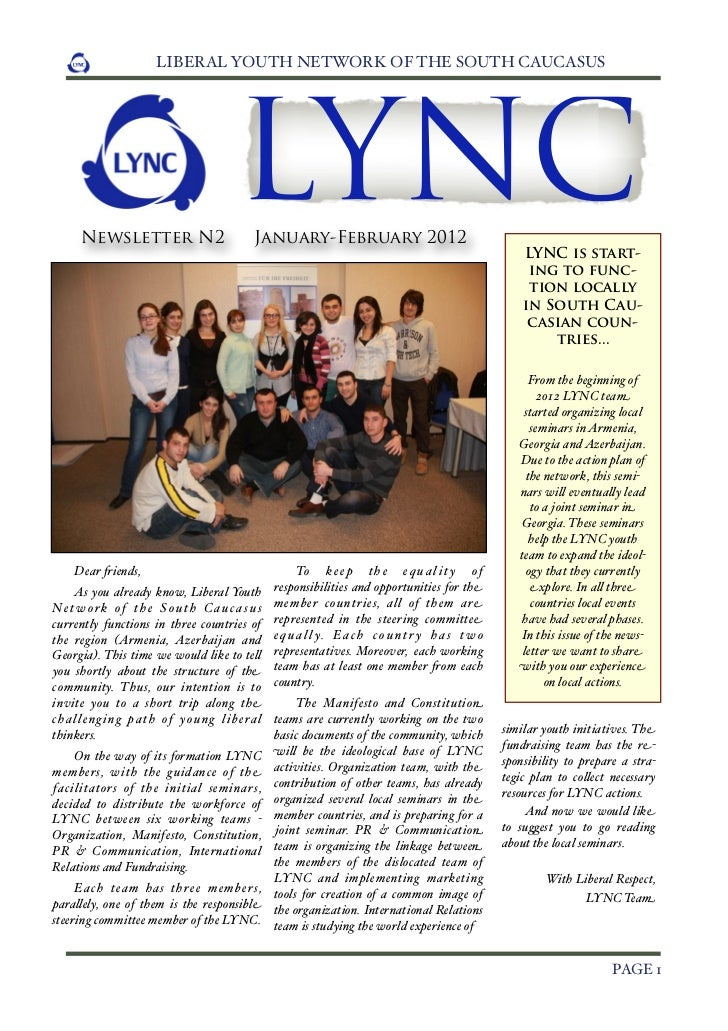 LIBERAL YOUTH NETWORK OF THE SOUTH CAUCASUS       Newsletter N2                                     LYNCJanuary-February 2...
