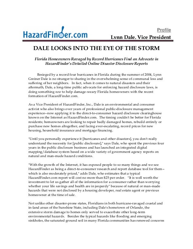 """Executive """"feature-length profile"""" of Lynn Dale at HazardFinder.com"""