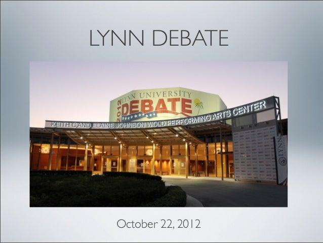 Lynn Debate Presentation