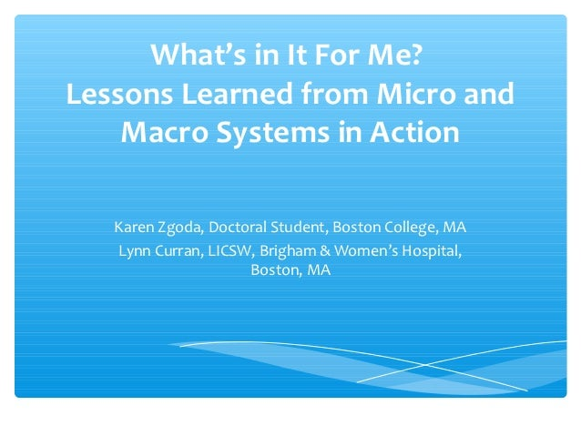 What's in It For Me?Lessons Learned from Micro and    Macro Systems in Action   Karen Zgoda, Doctoral Student, Boston Coll...