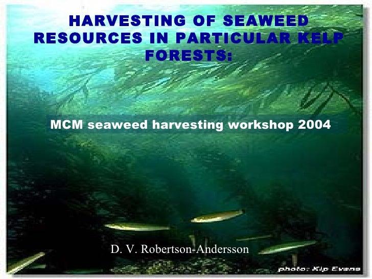 HARVESTING OF SEAWEED RESOURCES IN PARTICULAR KELP FORESTS: MCM seaweed harvesting workshop 2004 D. V. Robertson-Andersson...