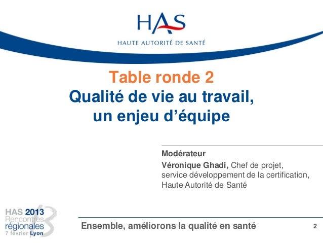 Table ronde 2 Qualité de vie au travail, un enjeu d'équipe 2Ensemble, améliorons la qualité en santé Modérateur Véronique ...