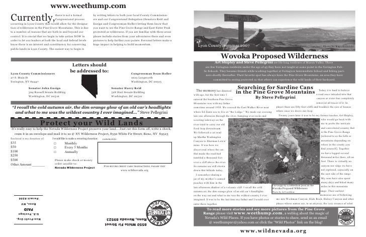 Summer 2007 Special Edition Nevada Wilderness Project Newsletter