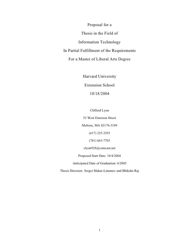 Proposal for a                Thesis in the Field of              Information Technology    In Partial Fulfillment of the ...