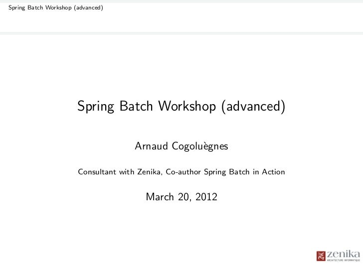 Spring Batch Workshop (advanced)