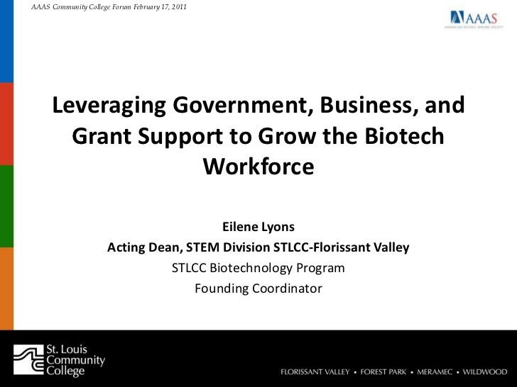 Leveraging Government, Business, and Grant Support to Grow the Biotech Workforce <br />Eilene Lyons<br />Acting Dean, STEM...