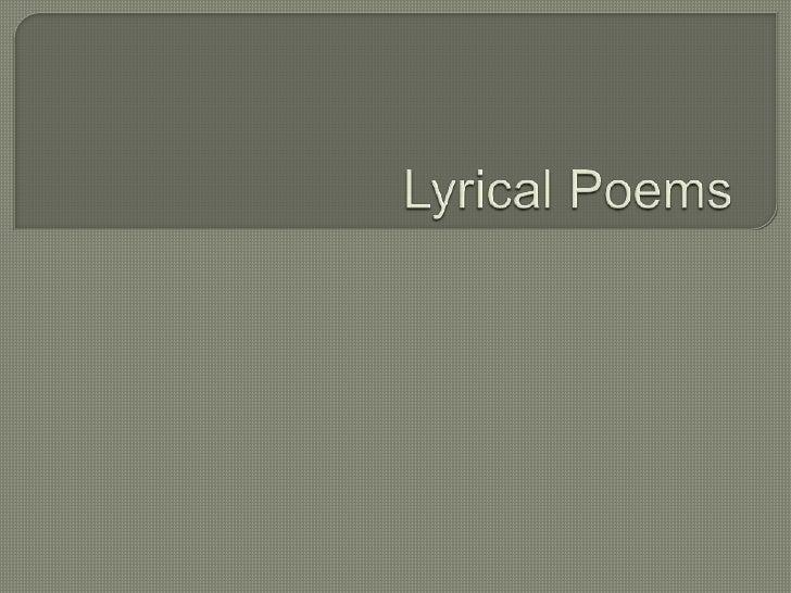 Lyrical poems and ballads