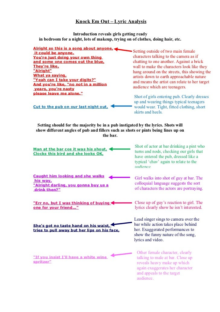 Lyric analysis lily allen 'knock em out'.