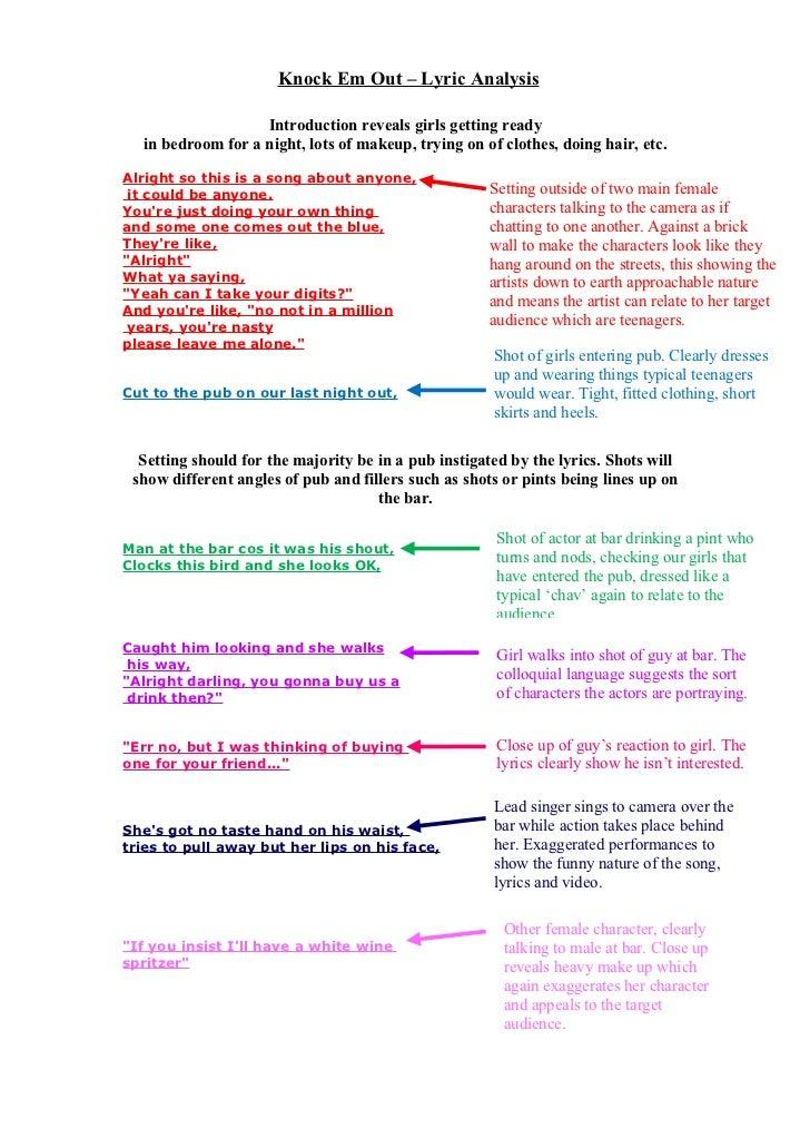 Lyric analysis lily allen 'knock em out'.