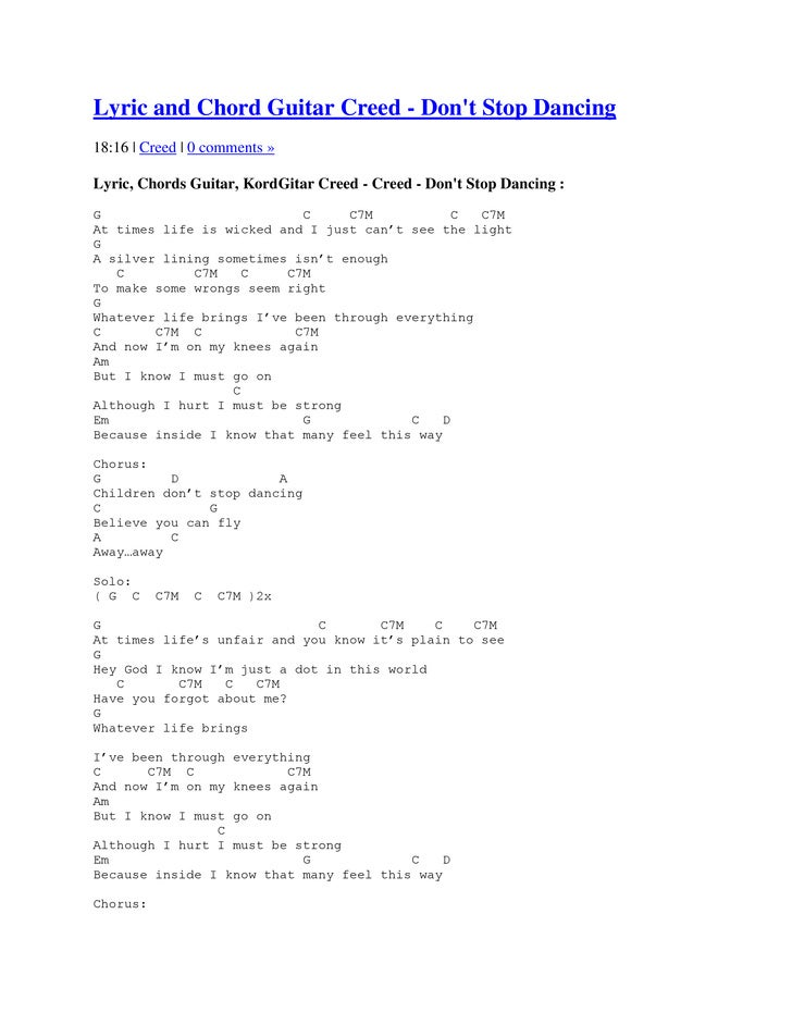 Lyric and Chord Guitar Creed - Dont Stop Dancing18:16 | Creed | 0 comments »Lyric, Chords Guitar, KordGitar Creed - Creed ...