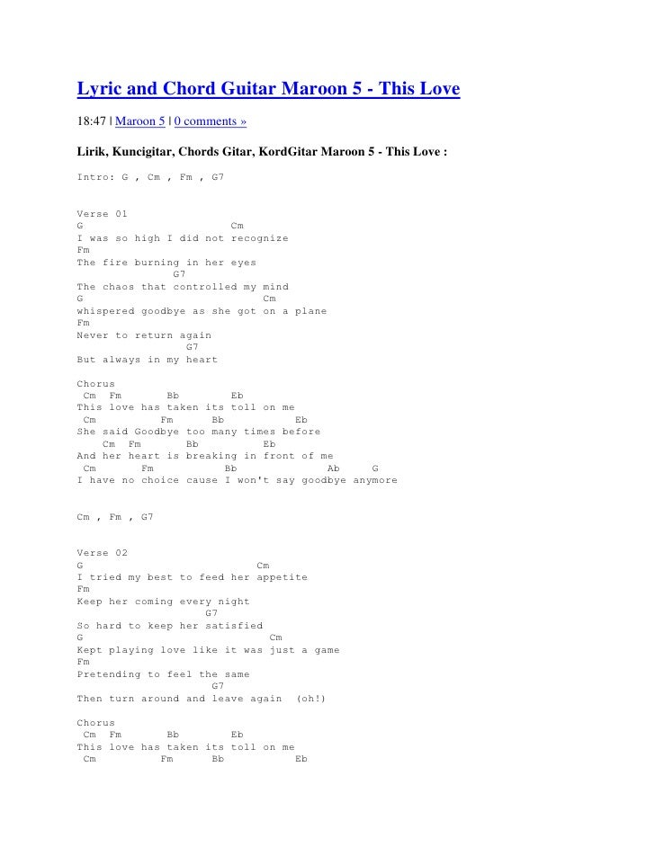 Lyric and Chord Guitar Maroon 5 - This Love18:47 | Maroon 5 | 0 comments »Lirik, Kuncigitar, Chords Gitar, KordGitar Maroo...