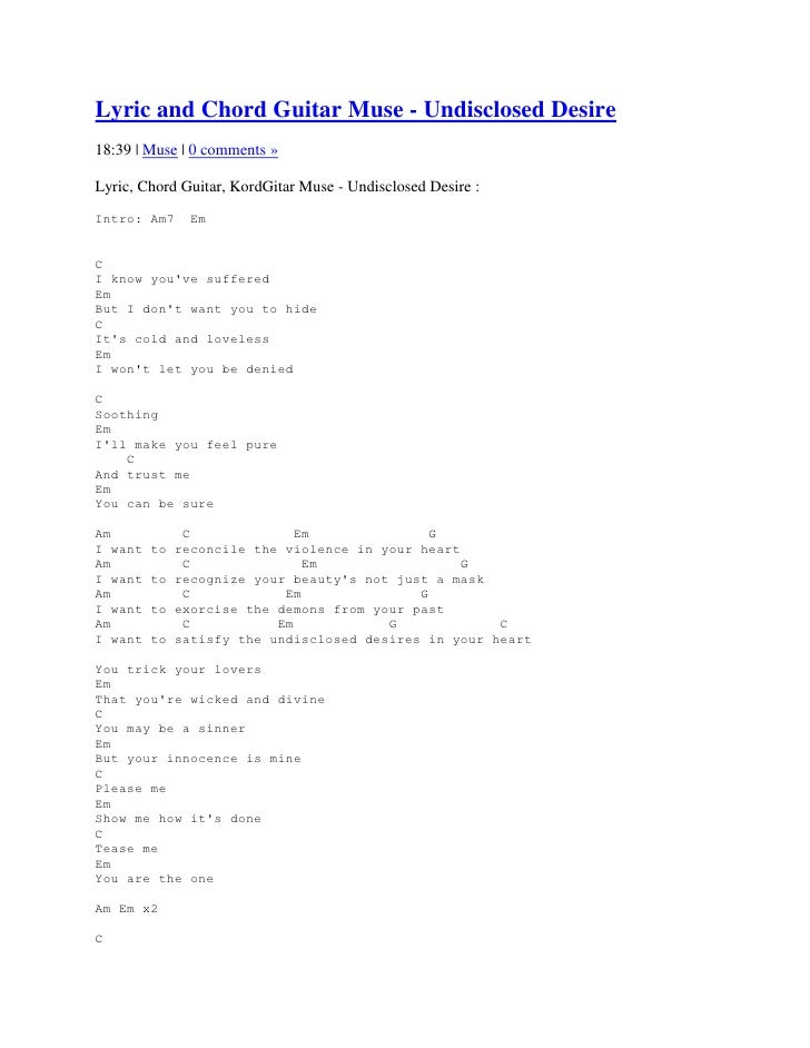 Lyric and Chord Guitar Muse - Undisclosed Desire18:39 | Muse | 0 comments »Lyric, Chord Guitar, KordGitar Muse - Undisclos...