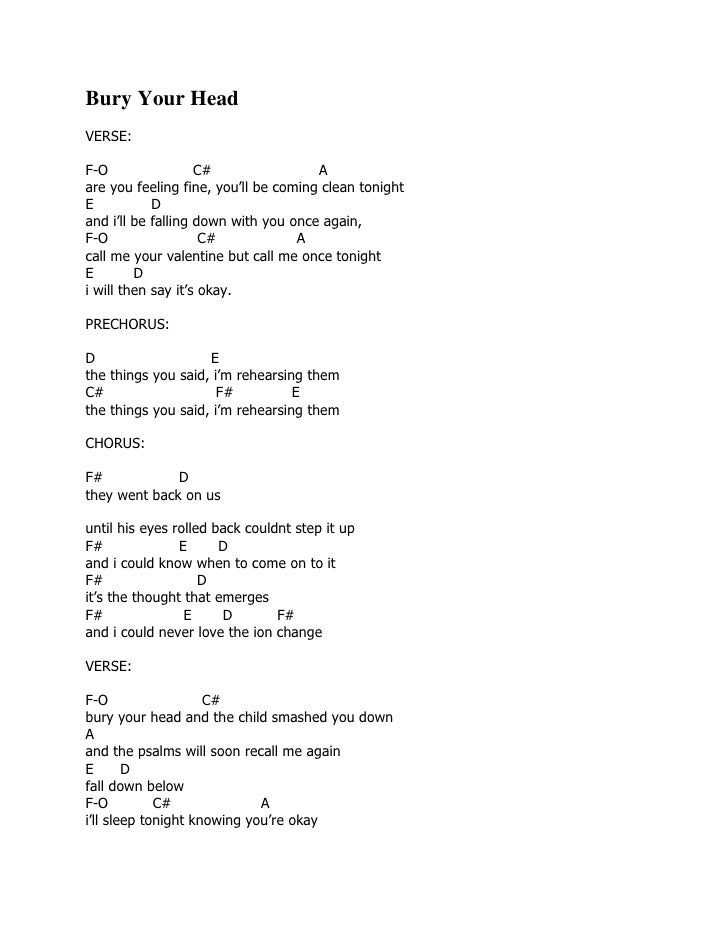 Lyric and chord guitar saosin