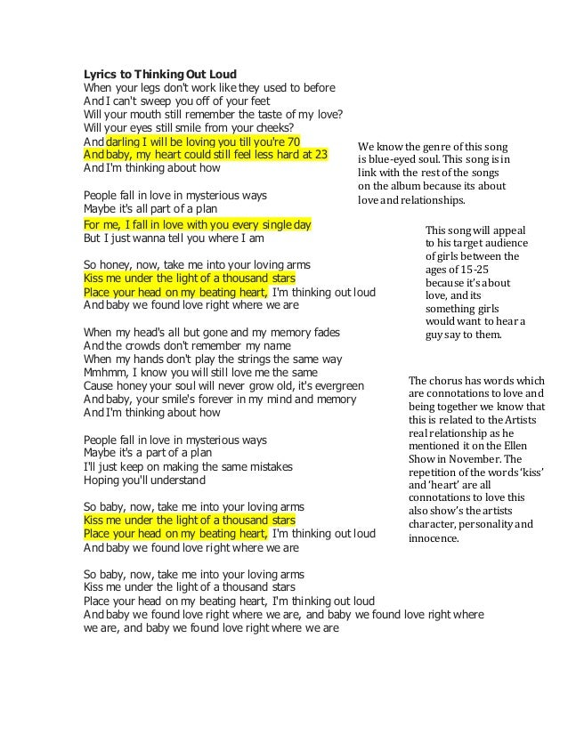Lyrics to thinking out loud for 1234 get on the dance floor song with lyrics