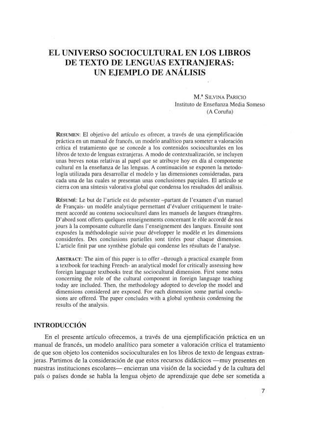 EL UNIVERSO SOCIOCULTURAL EN LOS LIBROS DE TEXTO DE LENGUAS EXTRANJERAS: UN EJEMPLO DE ANÁLISIS M.a  SILVINA PARICIO  Inst...