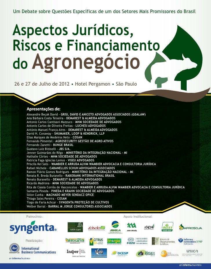 Um Debate sobre Questões Específicas de um dos Setores Mais Promissores do BrasilAspectos Jurídicos,Riscos e Financiamento...