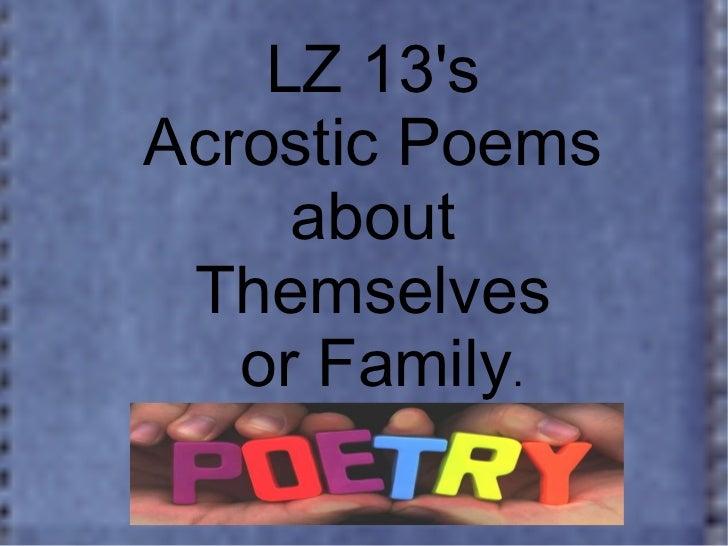 Lz13 acrostic poems
