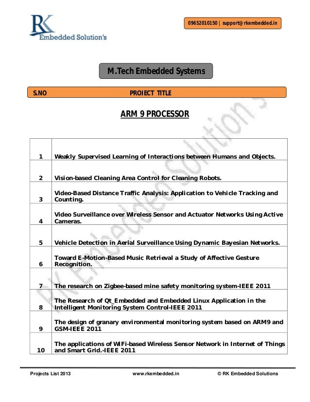 M.tech embedded systems Projects Titles
