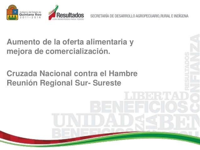 Aumento de la oferta alimentaria y mejora de comercialización. Cruzada Nacional contra el Hambre Reunión Regional Sur- Sur...