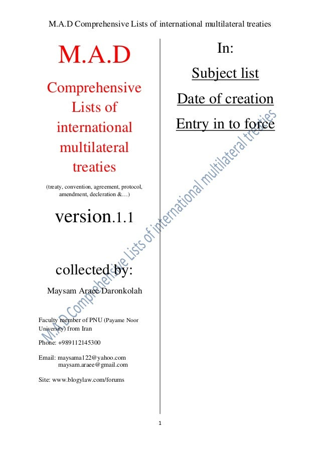 M.A.D Comprehensive Lists of international multilateral treaties  In:  M.A.D  Subject list  Comprehensive Lists of interna...