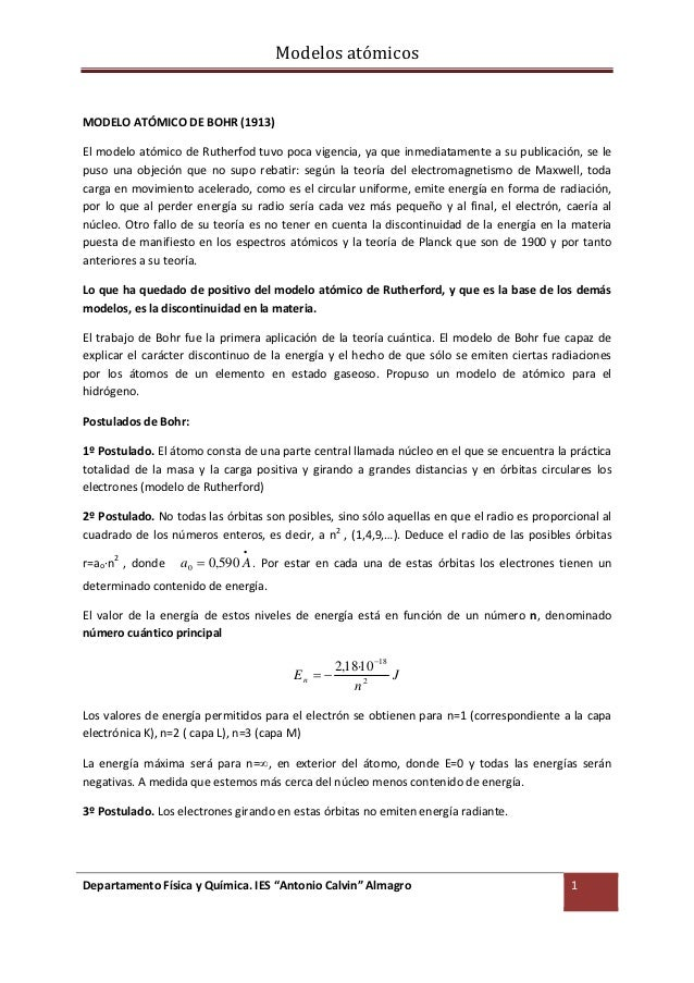 ModelosatómicosMODELOATÓMICODEBOHR(1913)ElmodeloatómicodeRutherfodtuvopocavigencia,yaqueinmediatamentea...