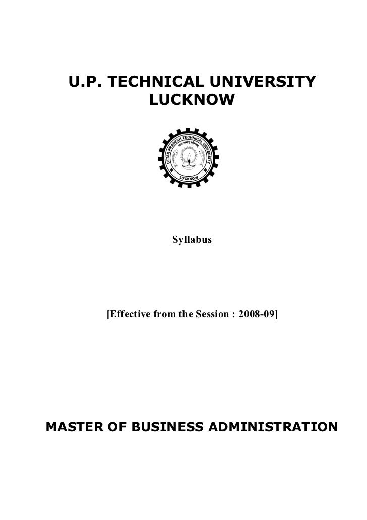 U.P. TECHNICAL UNIVERSITY           LUCKNOW                    Syllabus      [Effective from the Session : 2008-09]MASTER ...