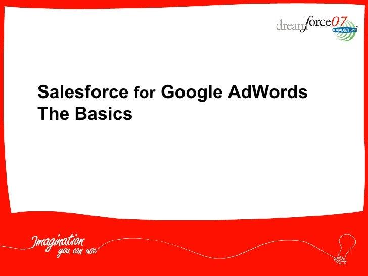 Salesforce  for  Google AdWords The Basics