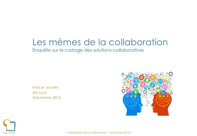 Les mèmes de la collaboration Enquête sur le codage des solutions collaboratives  Pascal Jouxtel EM Lyon Décembre 2013  < ...