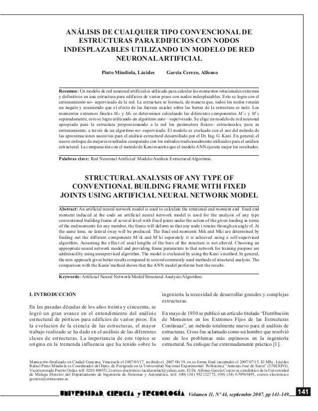 141Volumen 11, Nº 44, septiembre 2007. pp 141-149ANÁLISIS DE CUALQUIER TIPO CONVENCIONAL DEESTRUCTURAS PARA EDIFICIOS CON ...