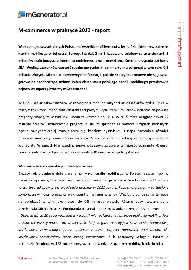 M commerce w praktyce 2013 - raport