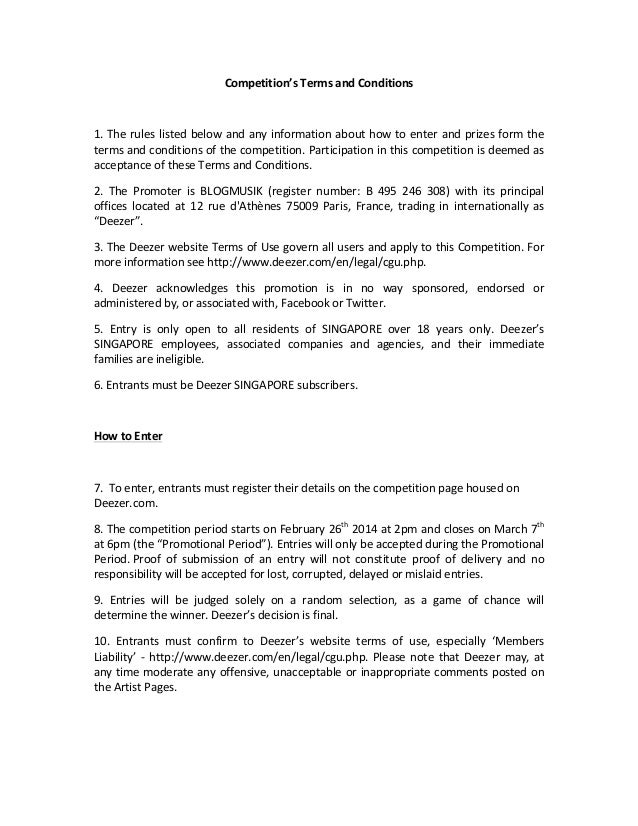Competition's  Terms  and  Conditions        1.  The  rules  listed  below  and  any  informatio...