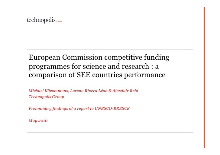 European Commission competitive funding programmes for science and research : a comparison of SEE countries performance  M...