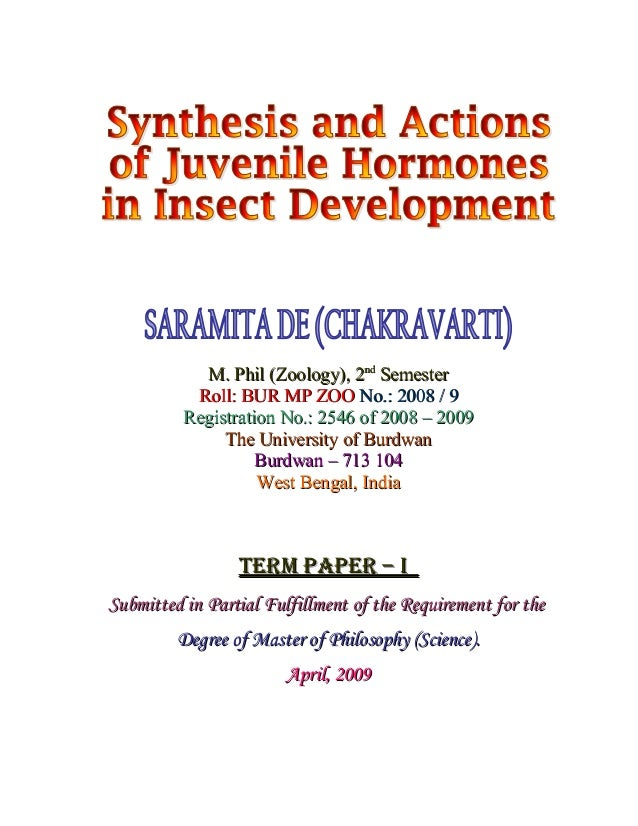 Synthesis and Actions of Juvenile Hormones In Insect Development (MS Word)