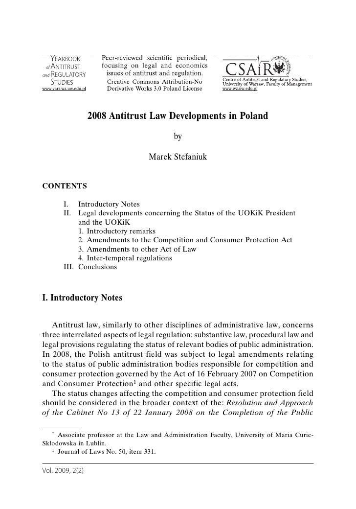 L E G I S L A T I O N R E V I E W S                     2008 Antitrust Law Developments in Poland                         ...