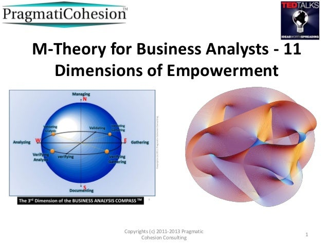 M-Theory for Business Analysts - 11Dimensions of EmpowermentCopyrights (c) 2011-2013 PragmaticCohesion Consulting1