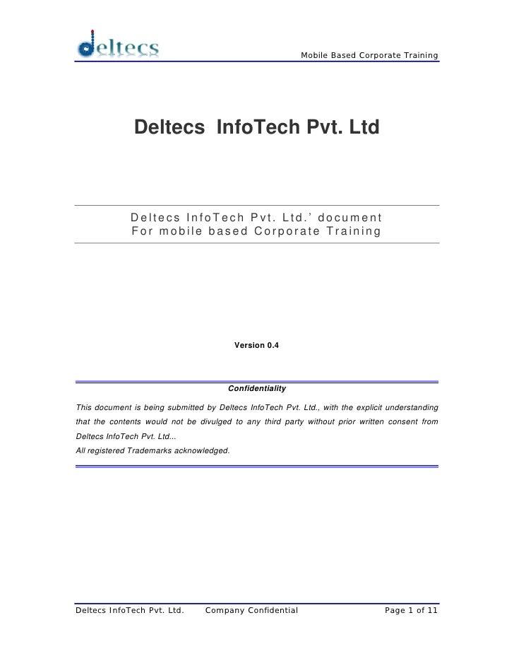 Mobile Based Corporate Training                     Deltecs InfoTech Pvt. Ltd                   Deltecs InfoTech Pvt. Ltd....