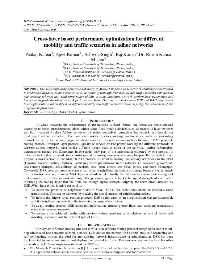 Cross-layer based performance optimization for different mobility and traffic scenarios in adhoc networks