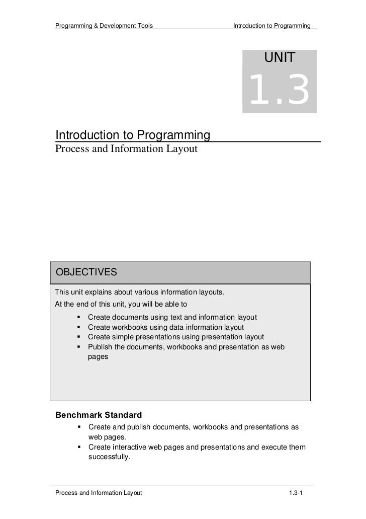 1.3 Process and Information Layout