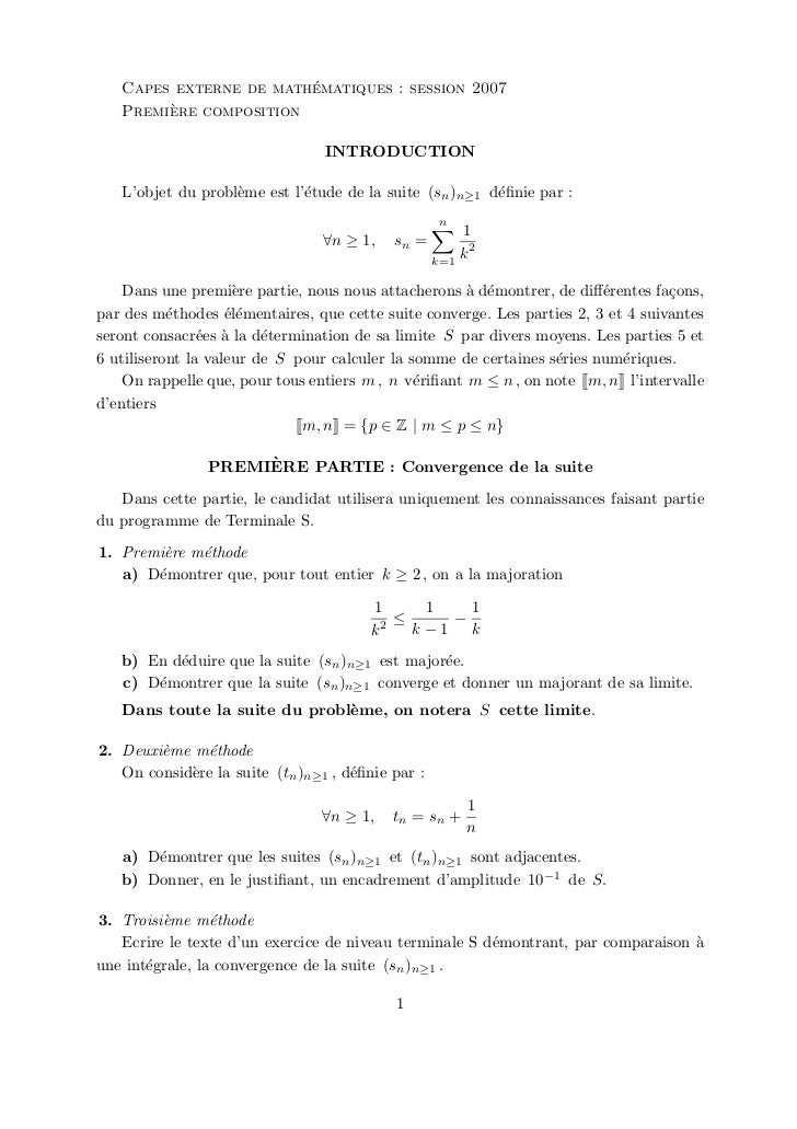 ´   Capes externe de mathematiques : session 2007        `   Premiere composition                                  INTRODU...