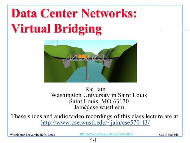 Data Center Networks: Virtual Bridging  .  Raj Jain Washington University in Saint Louis Saint Louis, MO 63130 Jain@cse.wu...