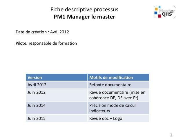 Fiche descriptive processus PM1 Manager le master Date de création : Avril 2012 Pilote: responsable de formation Version M...