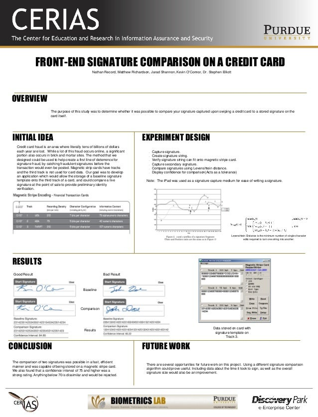 FRONT-END SIGNATURE COMPARISON ON A CREDIT CARD The purpose of this study was to determine whether it was possible to comp...