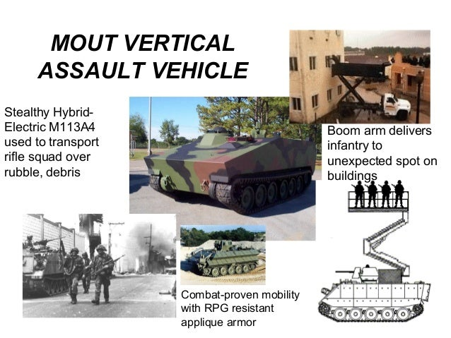 MOUT VERTICAL     ASSAULT VEHICLEStealthy Hybrid-Electric M113A4                              Boom arm deliversused to tra...