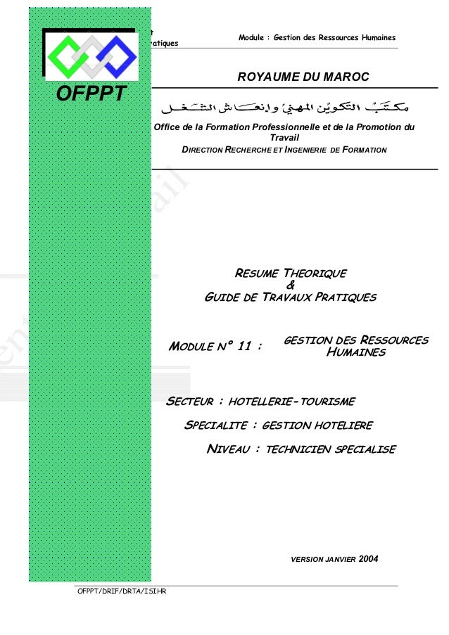 Résumé Théorique et                                       Module : Gestion des Ressources Humaines Guide de Travaux Pratiq...