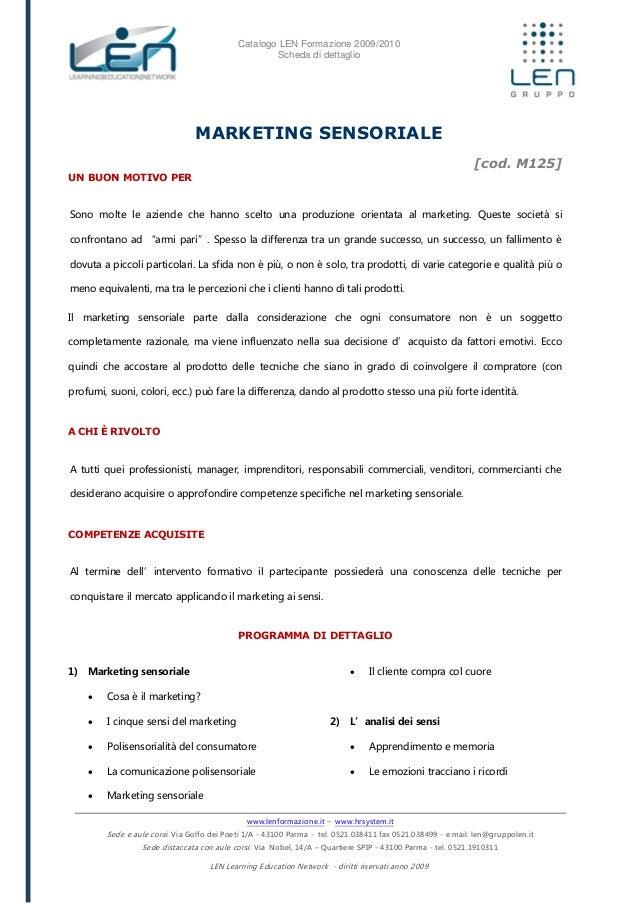 Marketing sensoriale - Scheda corso LEN
