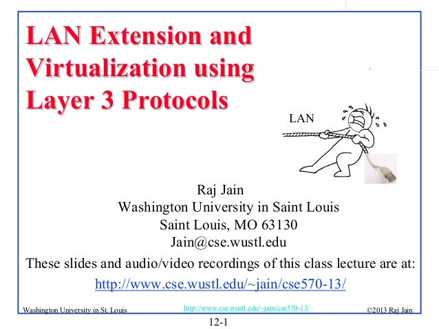 LAN Extension and Virtualization using Layer 3 Protocols  .  LAN  Raj Jain Washington University in Saint Louis Saint Loui...