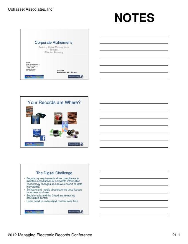 Cohasset Associates, Inc.                                                                                    NOTES        ...