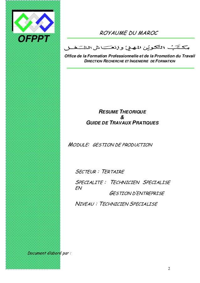 2 OFPPT ROYAUME DU MAROC MODULE: GESTION DE PRODUCTION SECTEUR : TERTAIRE SPECIALITE : TECHNICIEN SPECIALISE EN GESTION D'...