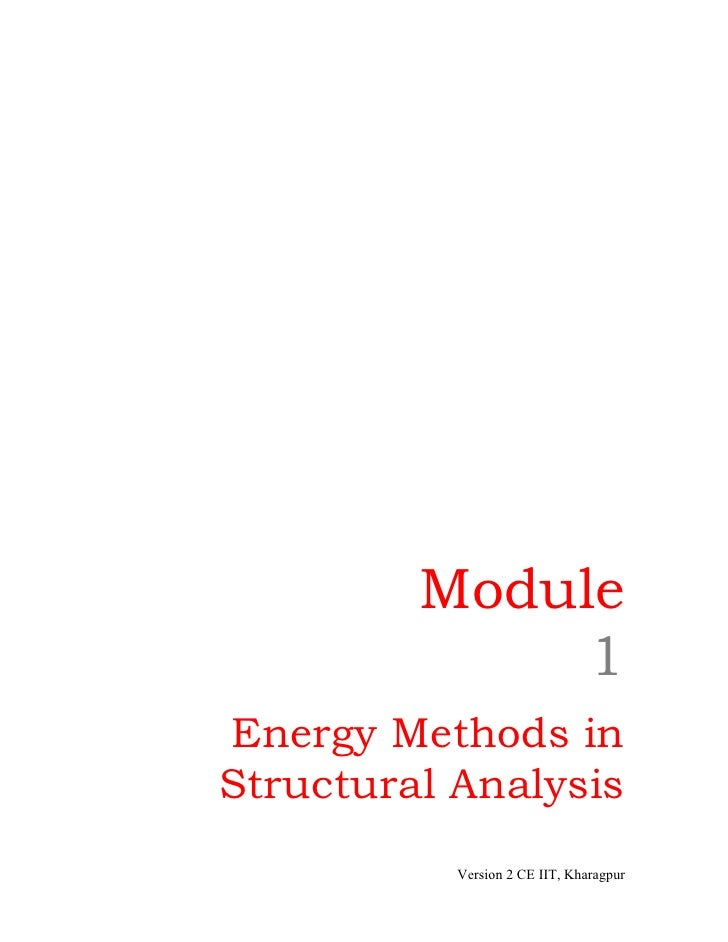 Module              1Energy Methods inStructural Analysis           Version 2 CE IIT, Kharagpur